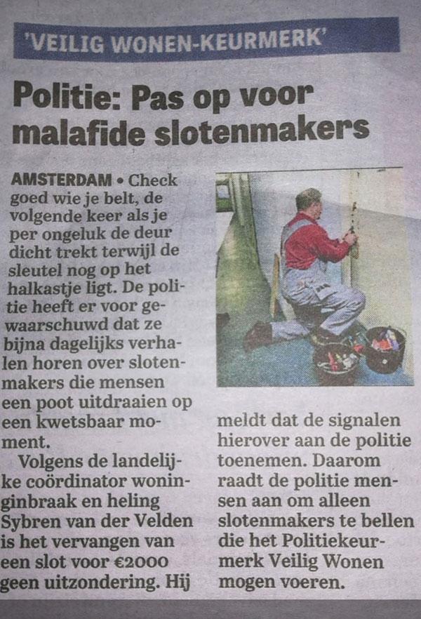 Krantenartikel over malafide slotenmakers